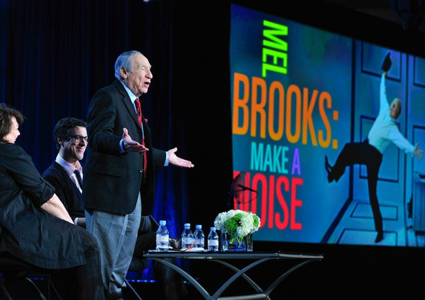 "During PBS' AMERICAN MASTERS ""Mel Brooks: Make A Noise"" session at the Television Critics Association Winter Press Tour in Pasadena, Calif. on Monday, January 14, 2013, series creator and executive producer Susan Lacy, Mel Brooks and filmmaker Robert Trachtenberg discuss the film profiling Brooks' life."