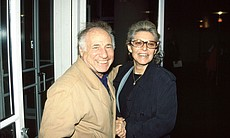 "Mel Brooks and Anne Bancroft at the premiere of ""LA. Story"" film on February 5, 1991."