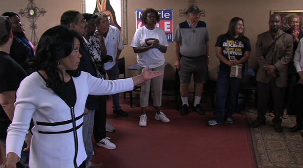 San Diego City Council District 4 candidate Myrtle Cole greets supporters at her Imperial Avenue campaign office.