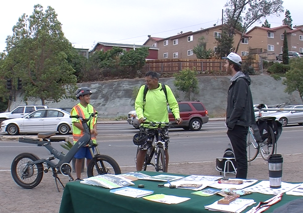 Jose Ornelas bikes each day from his home in La Mesa to his job at Caltrans in Old Town. He brought his 11-year-old son Peter to work with him so he could share the benefits of commuting by bike.