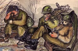 A painting by John Jarvie captures the exhaustion of his comrades. Many of th...