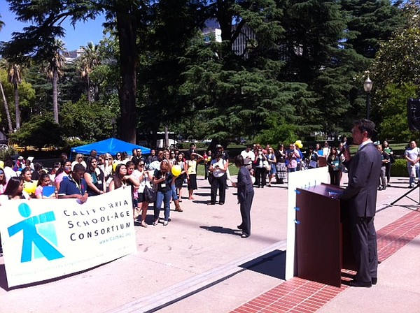 Calif. State Sen. Mark Leno (D-San Francisco) speaks at a rally to restore fu...