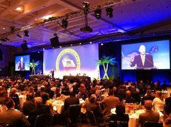 Several hundred people listen to Calif. Gov. Jerry Brown address the annual C...