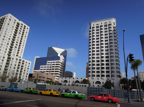 Taxis lined up in downtown San Diego.