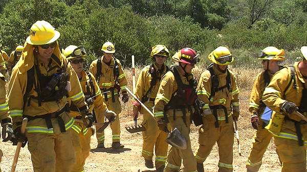 Firefighters from around San Diego County teamed up near Barona in San Diego'...
