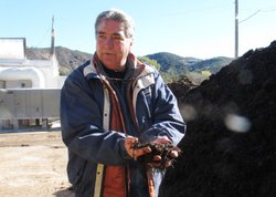 Gary Crouch of Mountain Meadow Mushroom in Escondido, where stable bedding from the County Fairgrounds is recycled into compost used to grow mushrooms, which then becomes mushroom compost available to gardeners across the region.