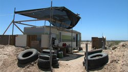 Caretakers hired to live and work at Salvation Mountain live in this trailer ...