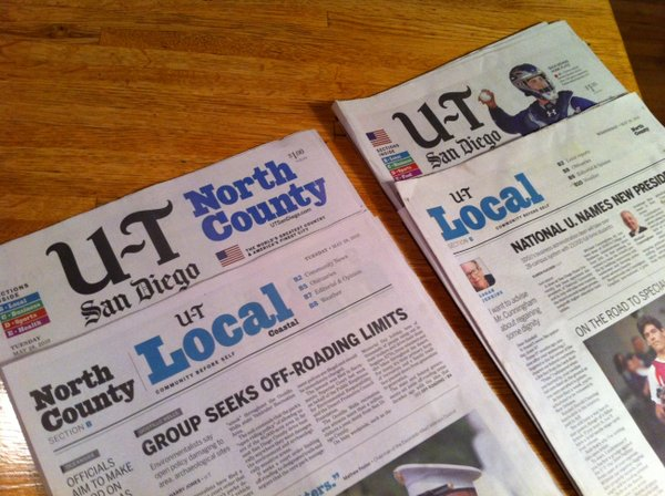 U-T San Diego, Tuesday and Wednesday editions.