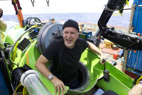 James Cameron emerging from the Deepsea Challenger, the o...