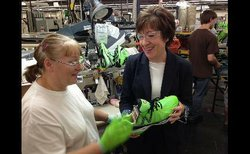Sen. Susan Collins visits New Balance factory in Maine.