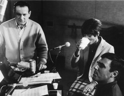 Lyricist Hal David with Dionne Warwick and Burt Bacharach in the recording studio.