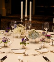 An elegantly set table for 10.  Gala guests enjoyed feasting on a Downton inspired menu.