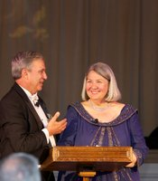 KPBS General Manager Tom Karlo with Honorary Chair Darlene Marcos Shiley welcome guests to San Diego's Downton Abbey.