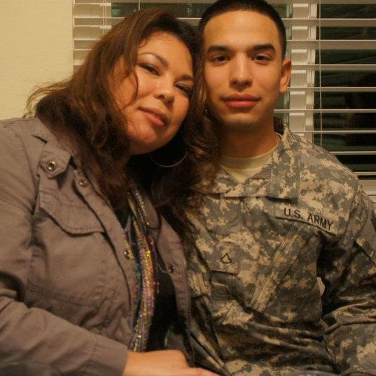 Army Spc. Ray A. Ramirez with his mother.