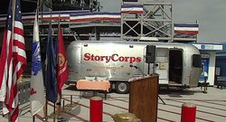 The StoryCorps' Mobile Booth is outfitted with a recording studio. The booth will be parked outside the USS Midway Museum June 3 through June 22.