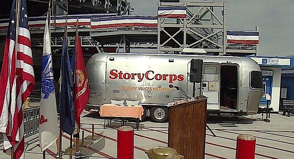The StoryCorps' Mobile Booth is outfitted with a recordin...