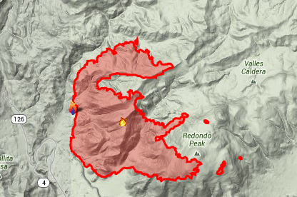 The Thompson Ridge Fire is threatening Redondo Peak in the Valles Caldera Nat...