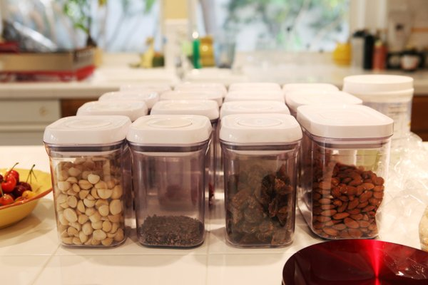 Rao keeps all of the nuts he eats on a counter in his kit...