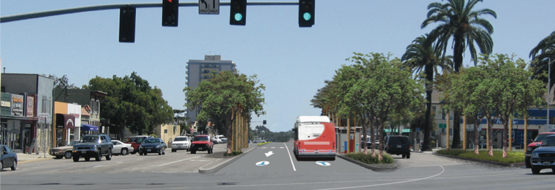 The mid-city rapid bus line will utilize special bus lanes in the median alon...