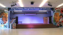 The newly renovated auditorium at King-Chavez Academy includes murals by Chic...