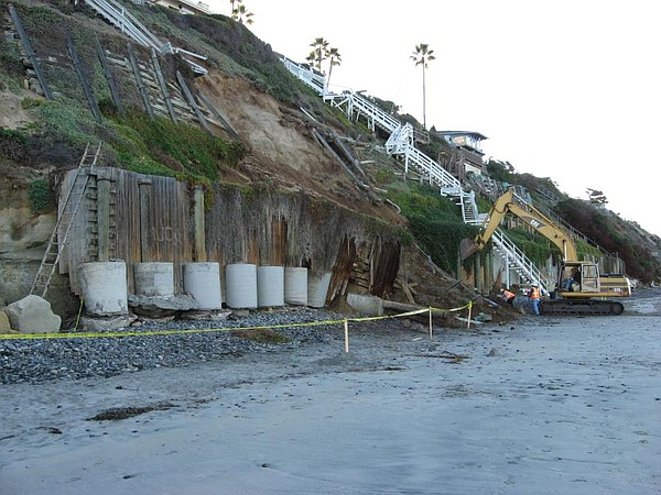 Eroded sea wall in Encinitas