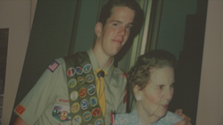 Drew Belnap, pictured with his grandmother, as an Eagle Scout.