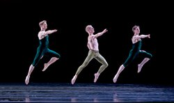 "Paul Taylor Dance Company: James Samson, Michael Trusnovec, Sean Mahoney (L-R) in ""Brandenburgs."""
