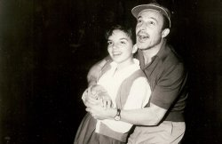 Liza Minnelli, age 13, rehearses with Gene Kelly for an appearance on Kelly's...