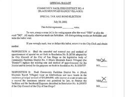 Copy of Official Ballot that formed Community Facilities District 4 in San Di...