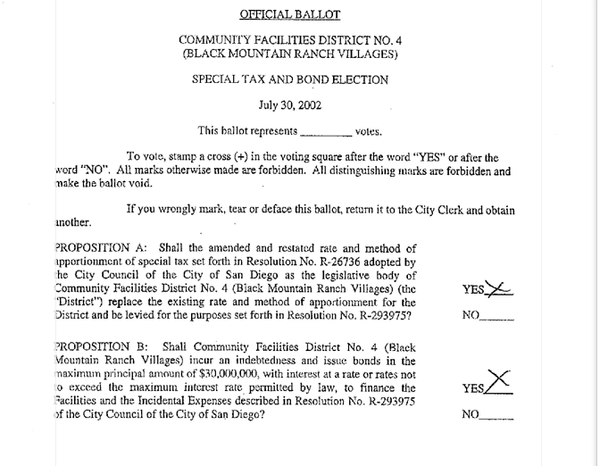 Copy of Official Ballot that formed Community Facilities ...