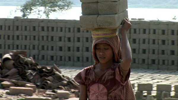 Kajal, eleven-year-old child laborer and budding activist, in the brickfield ...