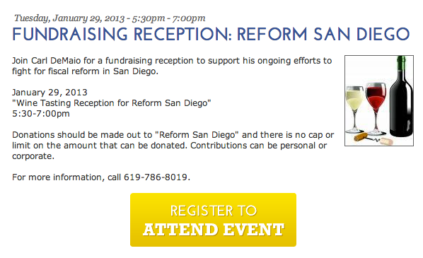 The invitation to Reform San Diego's relaunch fundraiser.