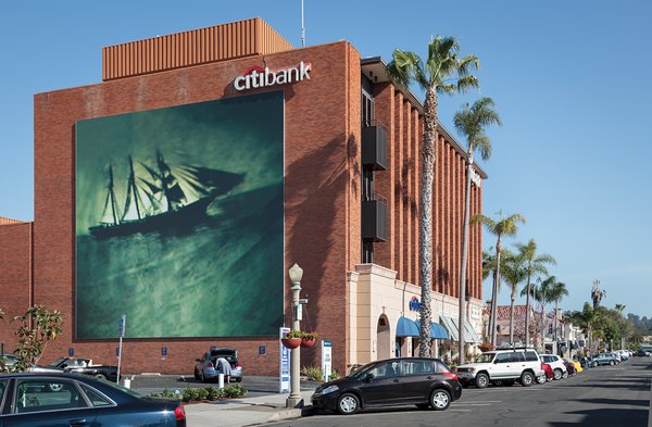 A mural by artist Ann Hamilton on the side of the Citibank building on Hersch...