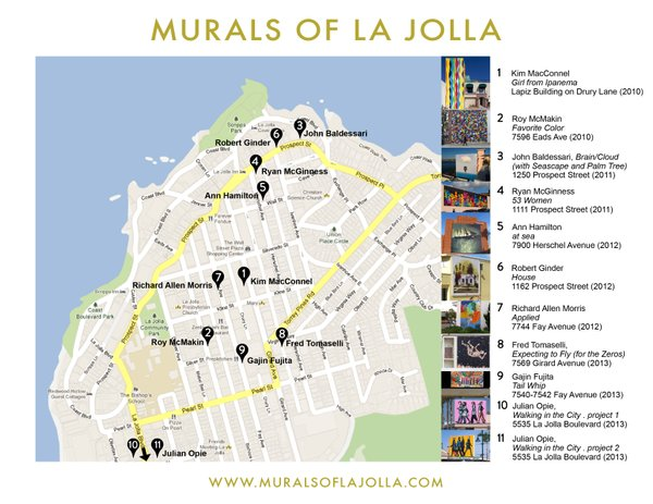 A map detailing the locations of the murals in La Jolla.