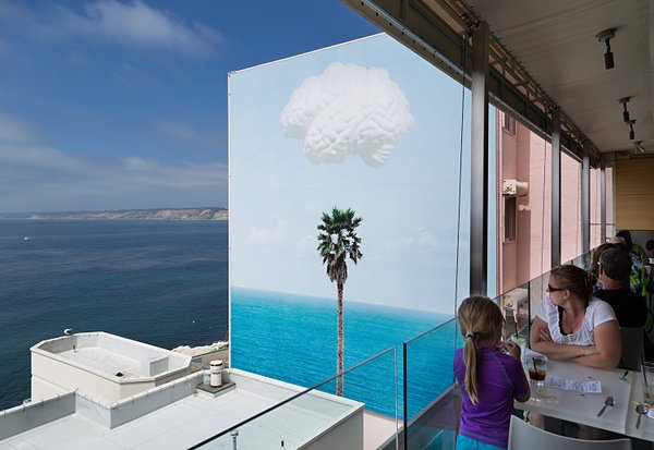 The mural by John Baldessari, visible here from George's on the Cove restaura...