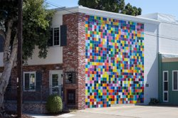 """Favorite Color,"" the Roy McMakin mural on the side of Leon Kassell's office building."