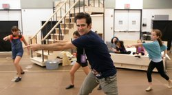 Tony Award winning choreographer Andy Blankenbuehler working with the cast.