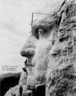 Construction on Mount Rushmore.