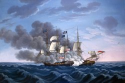 """In Action,"" an oil painting by Michel Felice Corne (1752-1845), depicting the USS Constitution and HMS Guerriere firing on each other, as Guerriere's mizzen mast goes over the side."