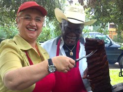 """Dr. Barbecue"" of Galveston, Texas, gives Lidia a lesson in dry-rub grilling ..."