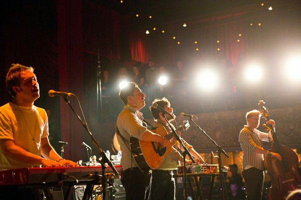 From left to right: Ben Lovett, Marcus Mumford, Winston Marshall, Ted Dwane o...