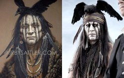 Johnny Depp as Tonto next to the painting that inspired his makeup, titled