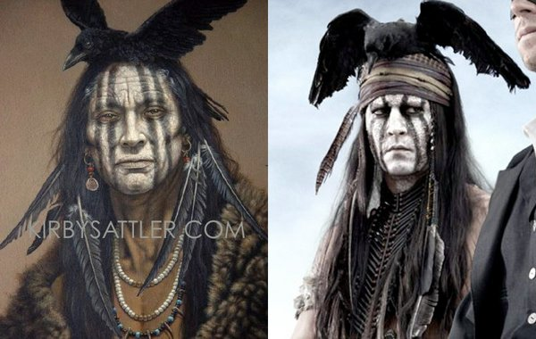 Johnny Depp as Tonto next to the painting that inspired h...