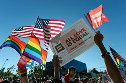 Same-sex marriage supporters celebrate the US Supreme Court ruling during a c...