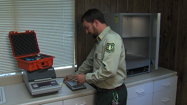 Forest Fuels Officer Stephen Fillmore weighs vegetation samples at the Descan...