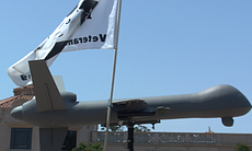 A model of a drone at the Restore the Fourth protest, July 4, 2013.