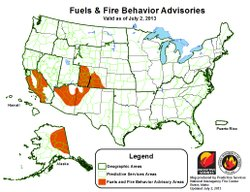 A fire advisory issued July 2, 2013 by the Predictive Services National Interagency Fire Center warns of San Diego County's high risk for wildfires.