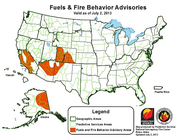 A fire advisory issued July 2, 2013 by the Predictive Services National Inter...