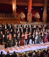 "The cast, including the world-famous Vienna Boys' Choir, perform the grand finale, ""Champagne Is King"" from the operetta ""Die Fledermaus"" at the Konzerthaus in Vienna, Austria."