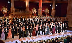 The cast, including the world-famous Vienna Boys' Choir, perform the grand fi...